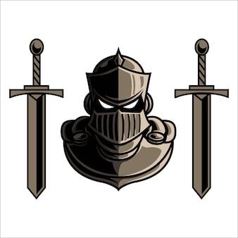 Mascotte logo knight avec épée