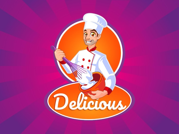 Mascotte logo mâle chef faisant de la pâte à biscuits