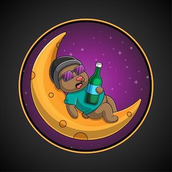 Mascotte de logo ours endormi sur la lune