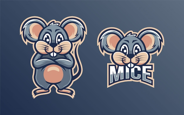 Mascotte de logo de personnage de souris mignonne