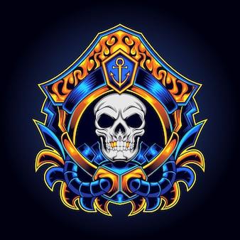Mascotte de logo de pirates de crâne