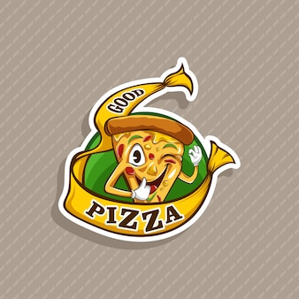 Mascotte de logo de pizza