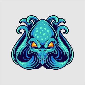 Mascotte de logo de poulpe bleu
