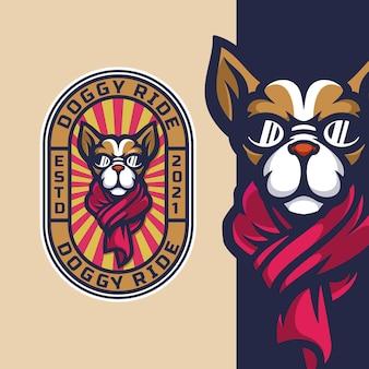 Mascotte de logo de promenade de chien