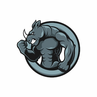 Mascotte logo rhino muscle humain