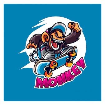 Mascotte de logo de singe de skate cool