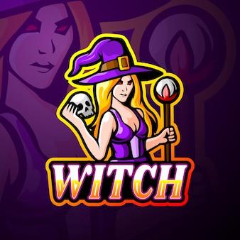 Mascotte de logo de sorcière esport