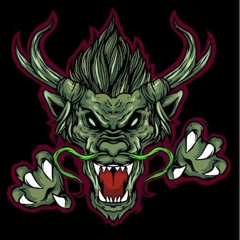 Mascotte logo tête de dragon