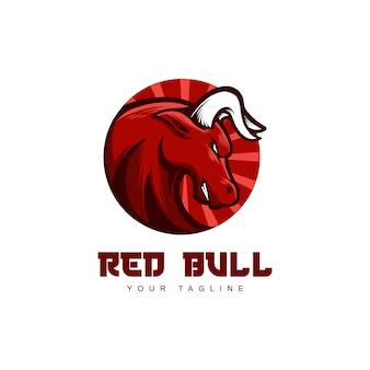 Mascotte de logo tête de taureau rouge