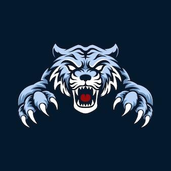 Mascotte logo tigre bleu avec fond