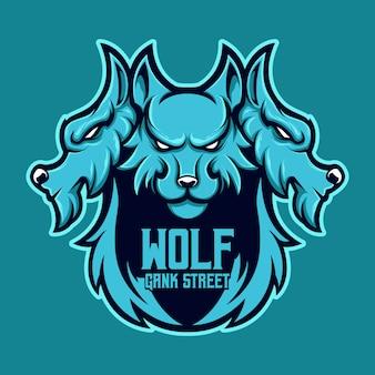 Mascotte de logo trois têtes de loup