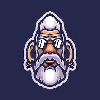 Mascotte de logo de vieil homme