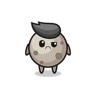 La mascotte de la lune au visage sceptique, design de style mignon pour t-shirt, autocollant, élément de logo