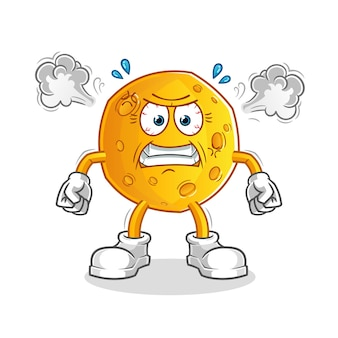 Mascotte de lune très en colère. dessin animé