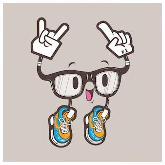 Mascotte de lunettes nerd cool