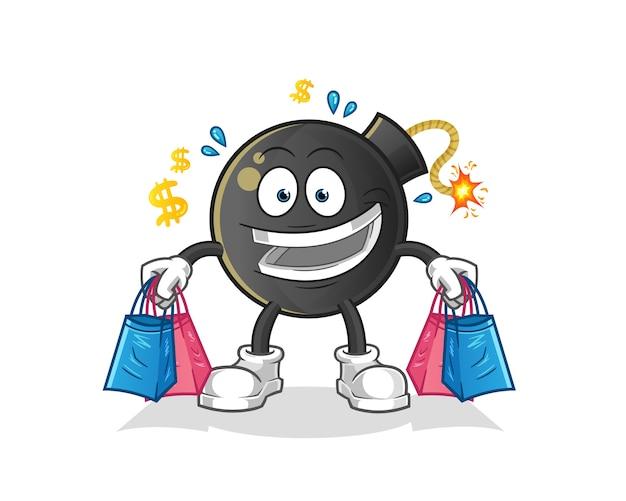 Mascotte de magasinage de bombes. dessin animé
