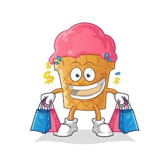 Mascotte de magasinage de crème glacée
