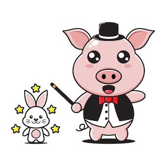 Mascotte de magicien cochon mignon avec lapin