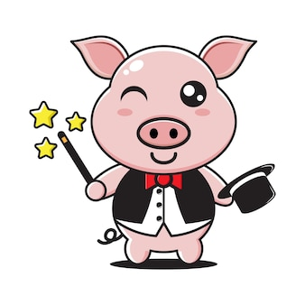 Mascotte de magicien cochon mignon