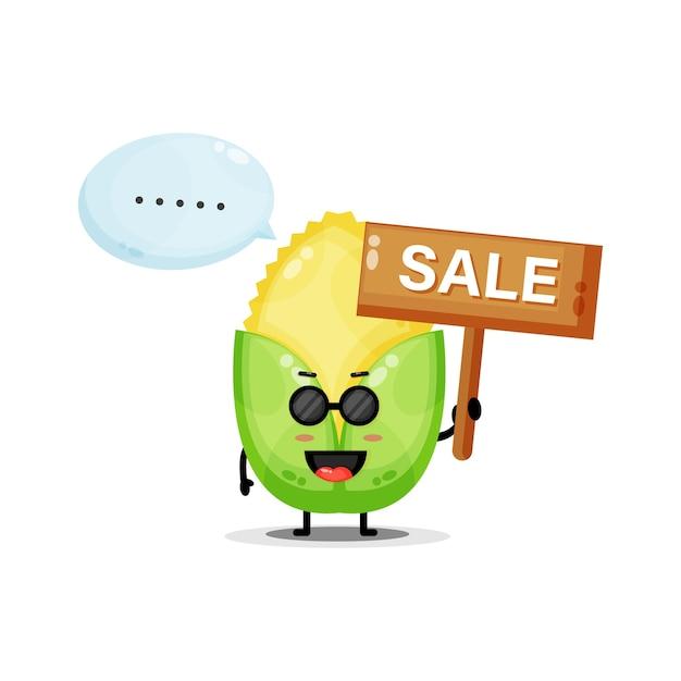 Mascotte de maïs mignon avec le signe des ventes