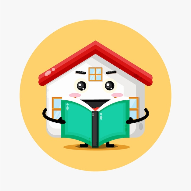 Mascotte de maison mignonne lisant un livre