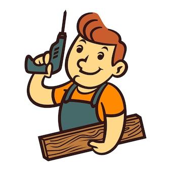 Mascotte de maître en bois de dessin animé