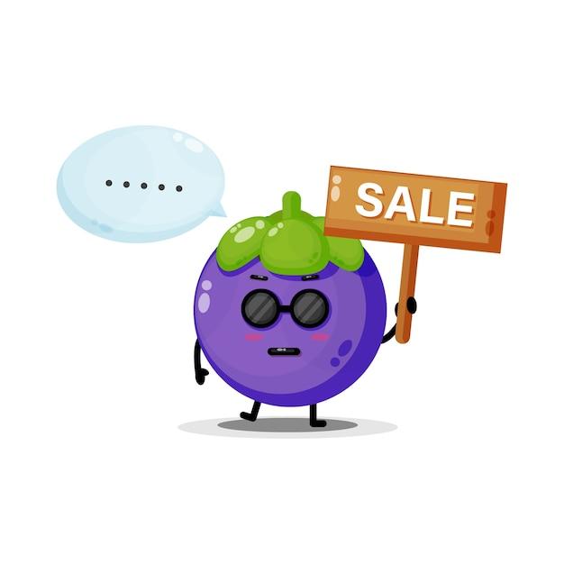 Mascotte de mangoustan mignonne avec le signe des ventes