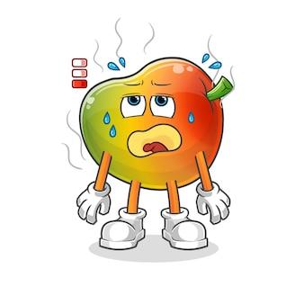Mascotte de mangue à batterie faible. dessin animé