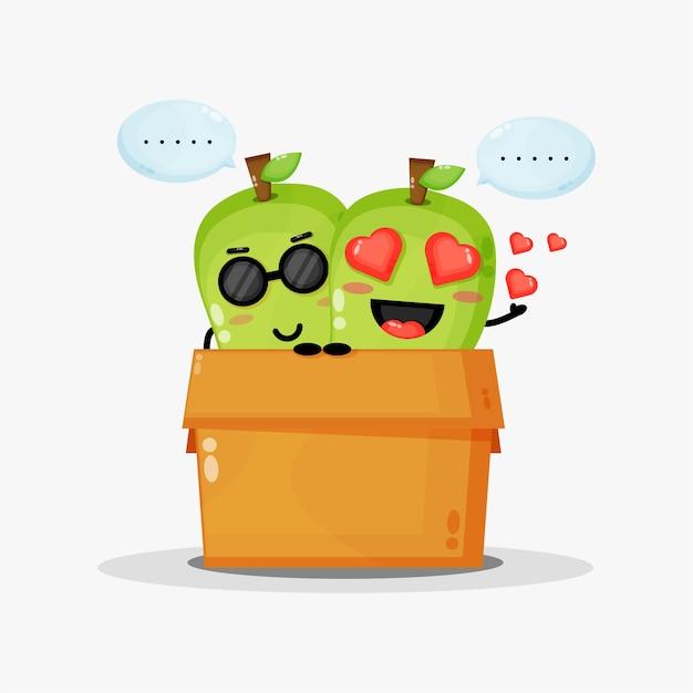 Mascotte de mangue mignonne dans la boîte