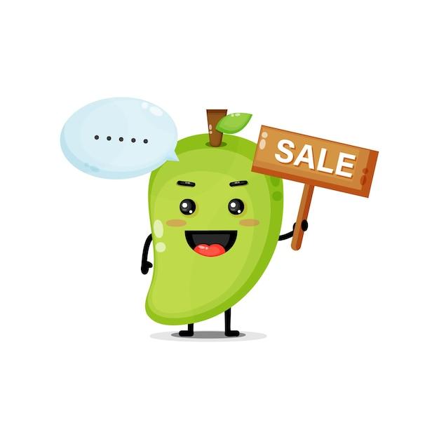 Mascotte de mangue mignonne avec le signe des ventes