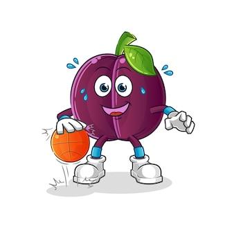 Mascotte de mascotte de dessin animé de basket-ball de dribble de prune. mascotte de dessin animé