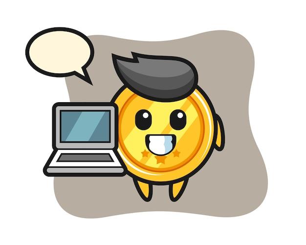Mascotte de médaille avec un ordinateur portable