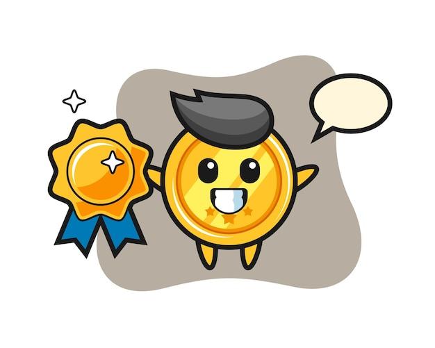 Mascotte de médaille tenant un badge doré