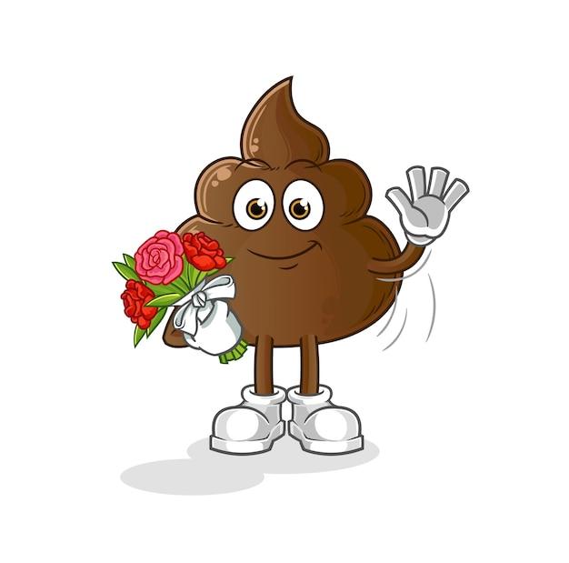 Mascotte de merde au bouquet. dessin animé