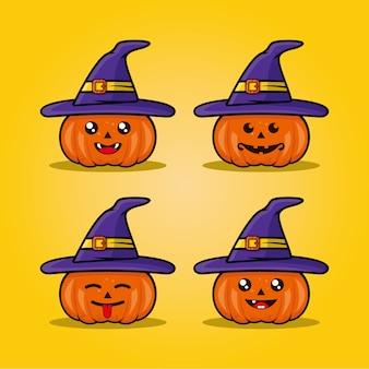 Mascotte mignon vecteur de citrouille d'halloween dessiné à la main