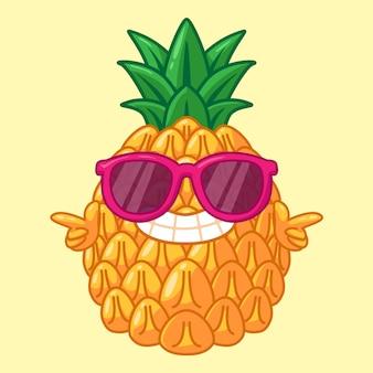 Mascotte mignonne d'ananas frais