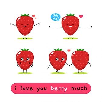 Mascotte mignonne aux fraises. illustration vectorielle