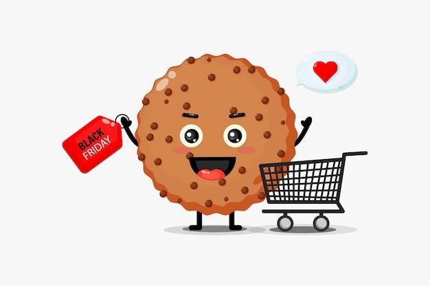 Mascotte mignonne de biscuit au chocolat avec réduction du vendredi noir