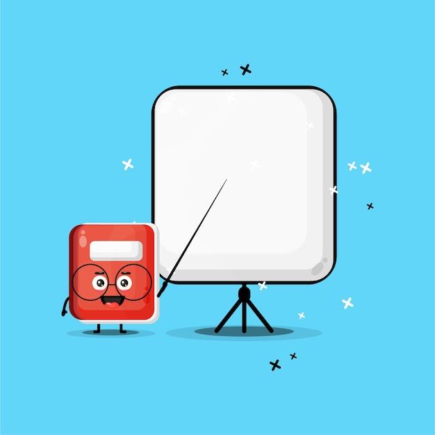 La mascotte mignonne de cahier devient professeur