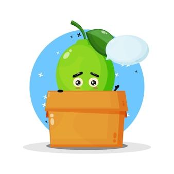 Mascotte mignonne de citron vert dans la boîte