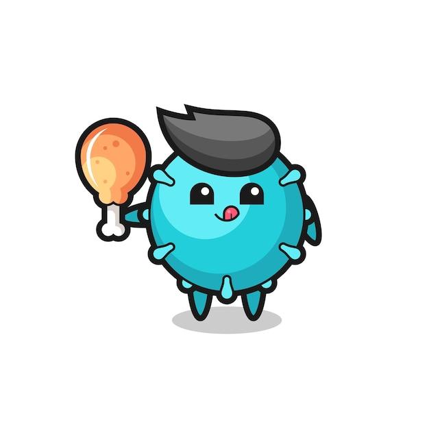 La mascotte mignonne du virus mange un poulet frit, un design de style mignon pour un t-shirt, un autocollant, un élément de logo