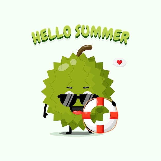 Mascotte mignonne de durian portant un char avec des salutations d'été