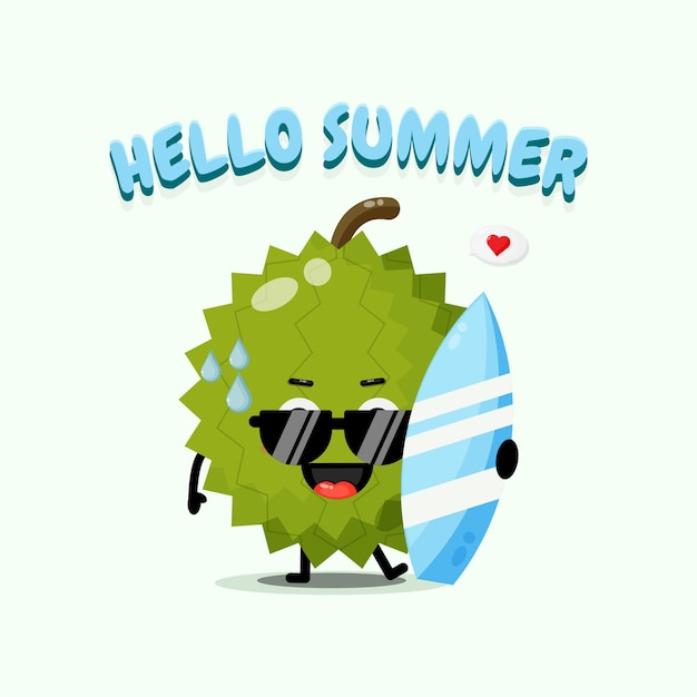 Mascotte mignonne de durian portant la planche de surf avec des salutations d'été