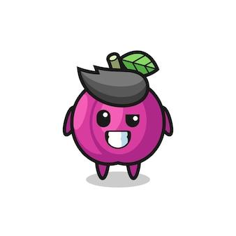 Mascotte mignonne de fruit de prune avec un visage optimiste, conception mignonne de modèle pour le t-shirt, autocollant, élément de logo