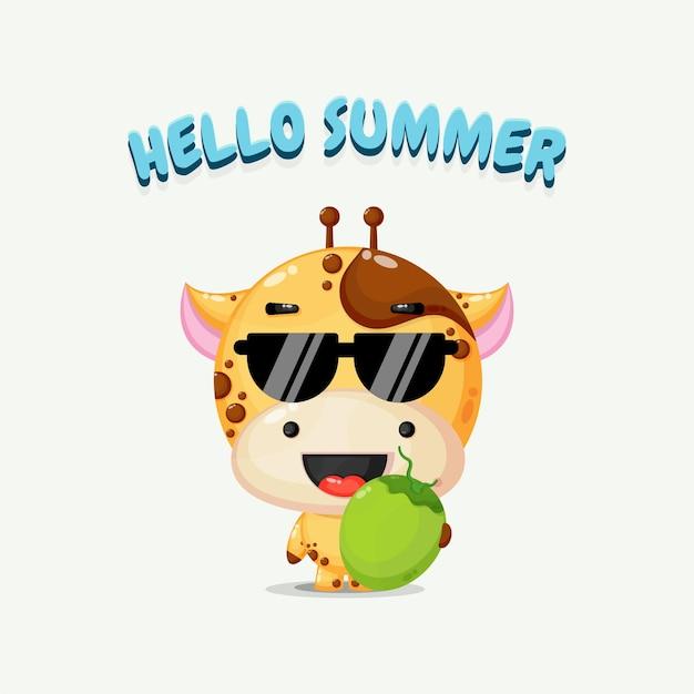 Mascotte mignonne de girafe portant la noix de coco avec des salutations d'été