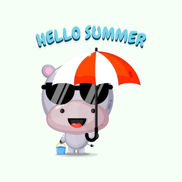 Mascotte mignonne d'hippopotame portant un parapluie avec des salutations d'été