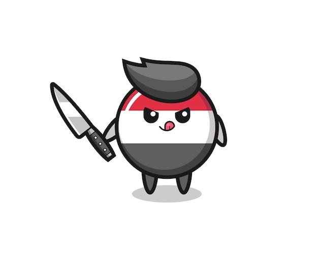 Mascotte mignonne d'insigne de drapeau du yémen en tant que psychopathe tenant un couteau, conception de style mignon pour t-shirt, autocollant, élément de logo