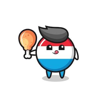 La mascotte mignonne d'insigne de drapeau luxembourgeois mange un poulet frit, conception mignonne de modèle pour le t-shirt, autocollant, élément de logo