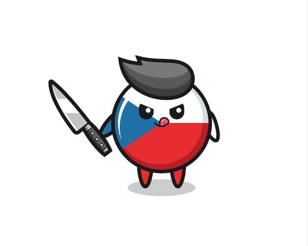 Mascotte mignonne d'insigne de drapeau de la république tchèque en tant que psychopathe tenant un couteau, design de style mignon pour t-shirt, autocollant, élément de logo