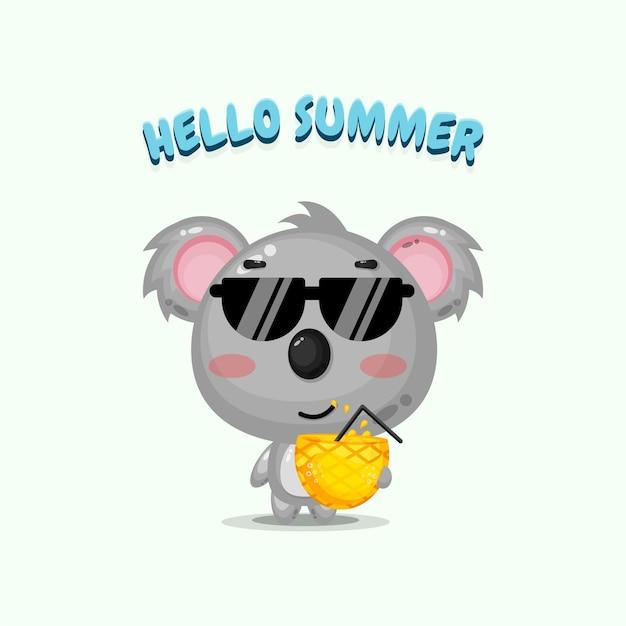 Mascotte mignonne de koala portant du jus d'ananas avec des salutations d'été